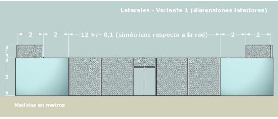 Medidas LATERALES de una pista de padel de CRISTAL con escalon