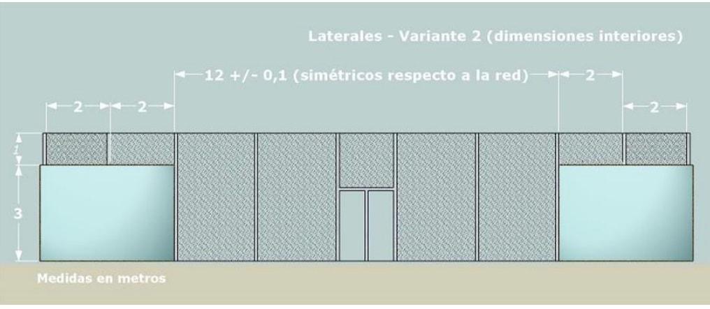 Medidas de una pista de padel de CRISTAL con misma altura en todo el LATERAL
