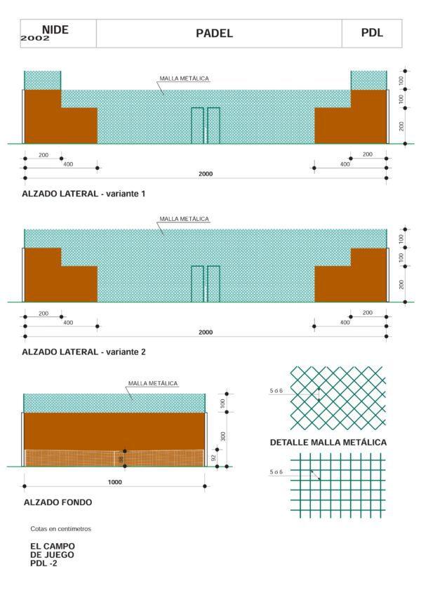 Plano en Vista Lateral con las Medidas de Muros y Mallas de una Pista de Pádel