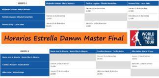 Horarios Master World Padel Tour Fase Grupos Femenina