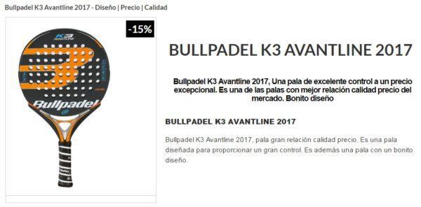 Pala BULL PADEL Bullpadel K3 2017