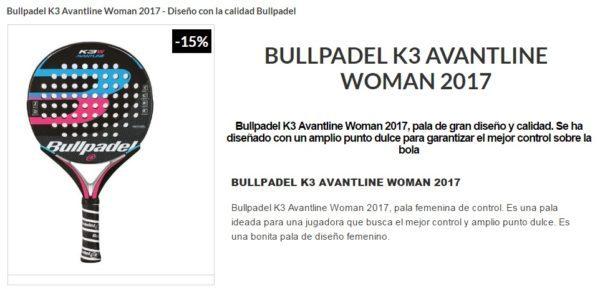 Pala BULL PADEL Bullpadel K3 2017 MUJER