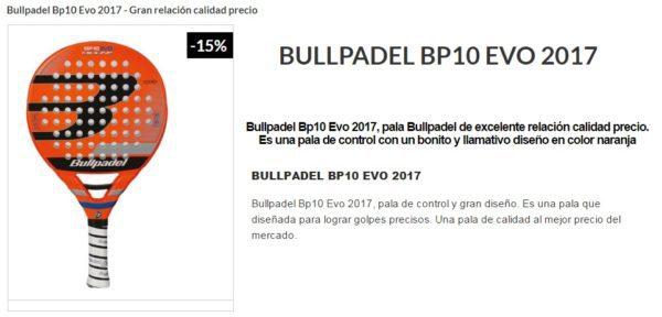 Pala Bullpadel BP10 EVO 2017