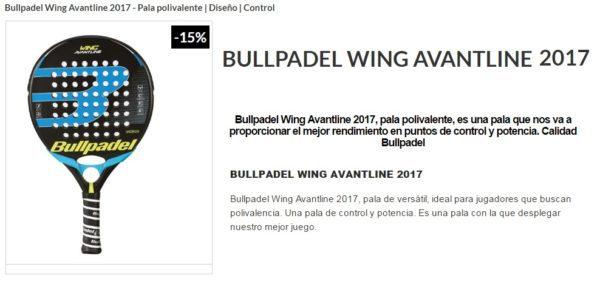 Pala Bullpadel WING 2017 Avant Line