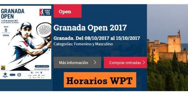 Horarios World Padel Tour Granada 2017