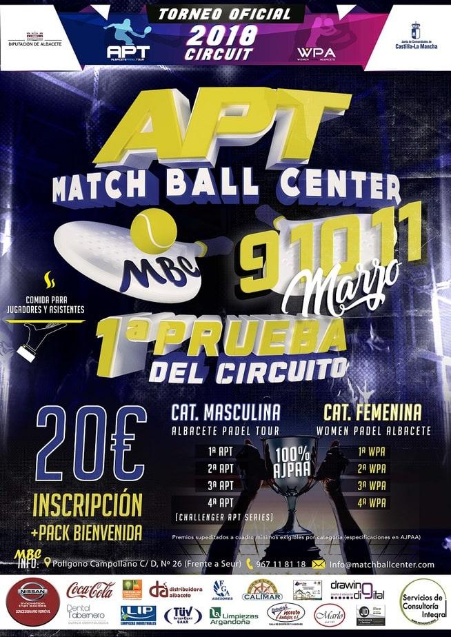 Cartel Torneo Padel Albacete Match Ball Center