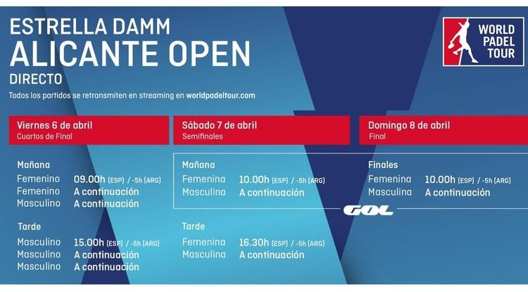 Horarios World Padel Tour ALICANTE en Directo
