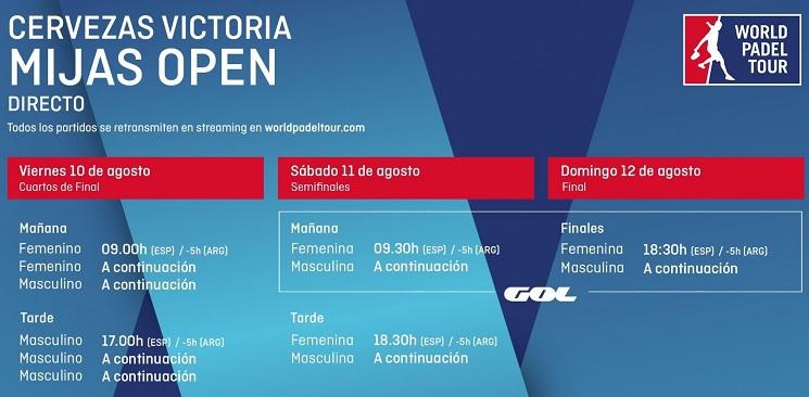 Horarios World Padel Tour Mijas en Directo