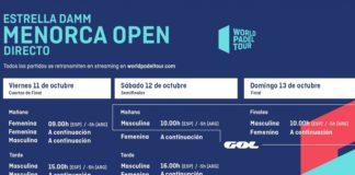 Horarios World Padel Tour Menorca 2019