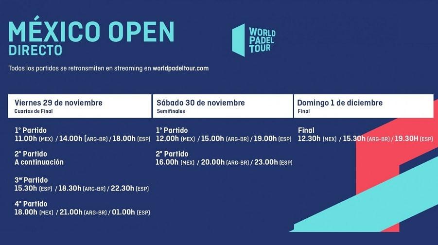 Horarios World Pádel Tour México 2019 Partidos En Directo Padelstar
